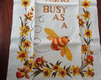 70s vintage Linen DISH TOWEL - busy as a bee, orange, harvest gold, unused