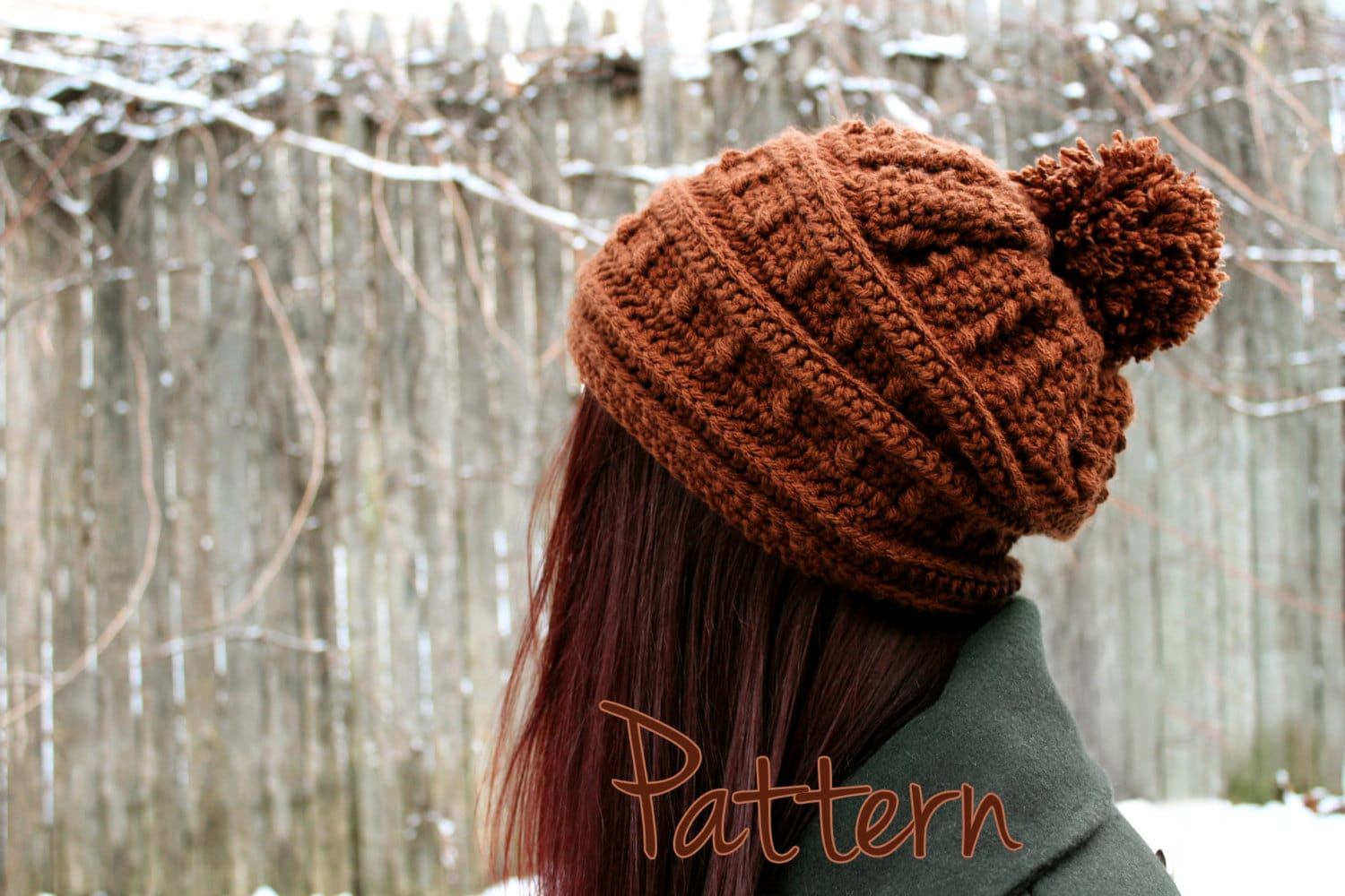 Relatively Crochet Pattern Slouchy Hat Womens Beanie Pom Pom Winter Puff UM97