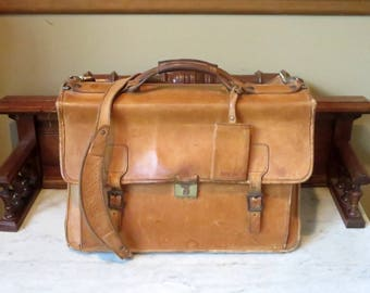 Etsy BDay Sale Hartmann Belting Leather Flap Over Briefcase Attache Made In USA- Mildly Distressed Condition