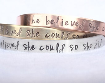 She Believed She Could So She Did Bracelet, Graduation 2018, Gifts for Graduation, Personalized Cuff, natashaaloha