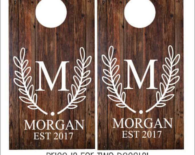 Personalized Cornhole Decals Traditional Monogram Laurel Wreath Crest Wedding Decals for Corn Toss Game DIY Set of Two Decals Initial Date