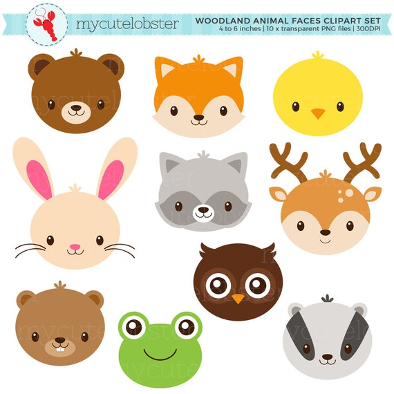 woodland animal faces clipart set cute animals rabbit