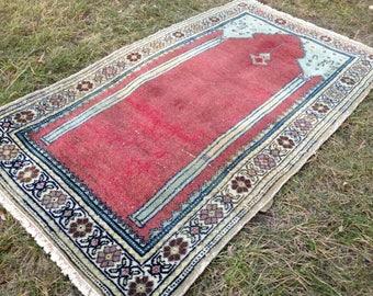 Turkish rug, Vintage rug, Handmade rug, Area rug, Small rug, Wool rug, Bohemian rug, Rug// FREE SHİPPİNG !! 115 cm x 68 cm = 3,7 ft x 2,2 ft
