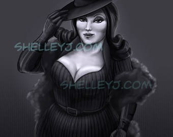 Femme Fatale a plus size illustrated pin-up by Shelleyj