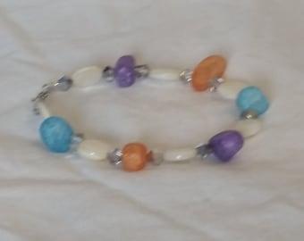 Multi color sea glass bead bracelet