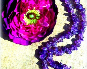 Amethyst Beauty, Amethyst necklace, prophecy stone crystal necklace, boho, tribal, zen necklace
