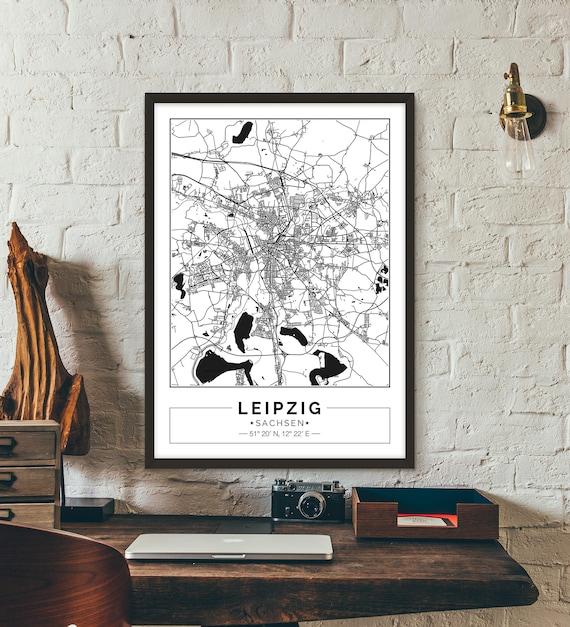 Leipzig Sachsen Germany Deutschland City map Poster