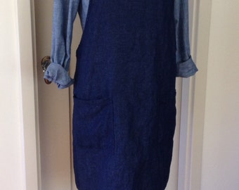 "Luxe Linen/Cotton Denim, Smock, Apron or Pinafore, ""Bib Top"" Cross Back Style"