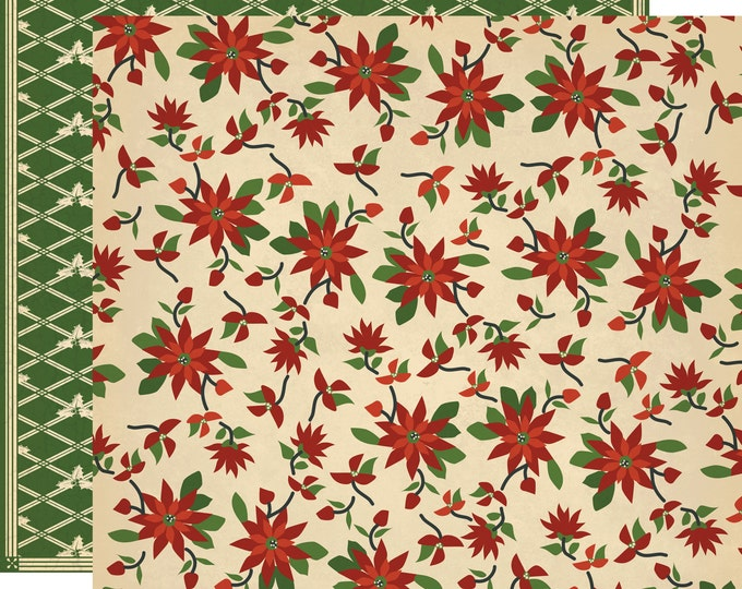 2 Sheets of Carta Bella Paper CHRISTMAS WONDERLAND 12x12 Scrapbook Paper - Christmas Quilt (CBCW46003)