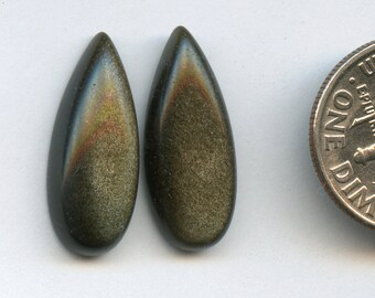 GOLDEN SHEEN OBSIDIAN One Pair 8x20mm Pear Drop Cabochons   A+ Grade