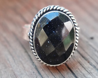 Sterling silver Natural Blue Goldstone Ring Size 8 - Natural Stone Ring - Gemstone Ring - Blue Sun Sitara ring - Boho Chic ring size 8