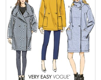 Pick Your Size - Vogue Coat Pattern V9136 - Misses' Dropped-Shoulder Coats in Three Variations - Very Easy Vogue