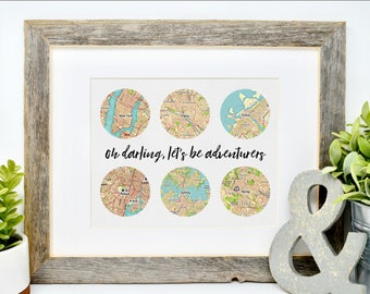 Oh Darling Lets Be Adventurers, Oh Darling Print, Custom Retirement Gift, Travel Lover Gifts, Travel Print, Adventure Print, Travel Gifts