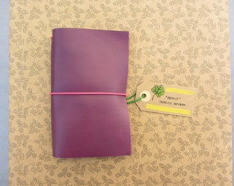 Handmade leather cover, fauxdori, travelers notebook. - Purple, all sizes.