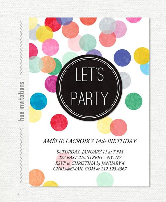 Items similar to 14th birthday party invitation rainbow confetti