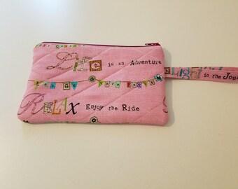 Life is an adventure wristlet, pink wristlet, zipper wristlet, wristlet with handle, quilted wristlet