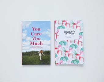 2 book pack — You Care Too Much + Portraits — gifts for women, feelers, book lovers