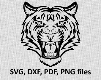 Tiger SVG/ Tiger DXF/ Tiger Clipart/ Tiger Files, printing design, cutting, silhouette, DXF, Lion vector, Lion head, T Shirt design