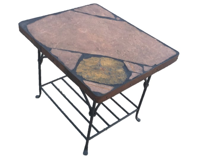 "Starfish: A 29 1/2 x 24 1/2 x 23 1/2"" tall natural stone topped folk art table"