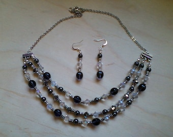 Black, Silver & Crystal necklace and earring set