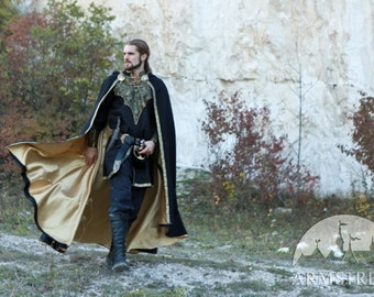 "Elven Lined Wool Cloak ""Knight of the West""; king cloak; lined cloak; golden cloak; woolen cloak; black cloak; cloak"