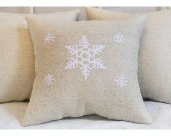Snowflake pillow , Embroidered Christmas pillow, Christmas pillow, Christmas gift pillow , Merry Christmas