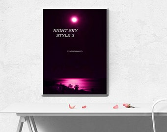 Colourful Wall Art ~ Original Photo, Photography Prints, Professional, Gifts, Presents ~ Moonlit Sea ~ Ready to hang Images ~ Fuschia Sea