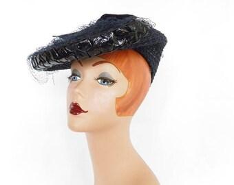 Vintage 1940s hat, navy blue tilt, WW2 era,  back cap,