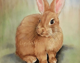 Sweet Little Bunny 11 x 15 original watercolor painting