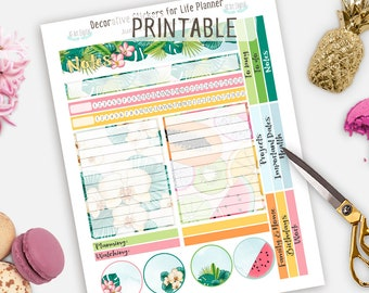 Printable Stickers, Erin Condren Stickers, Notes Page Printable, June Notes Page, Summer Notes Page, Summer planner, Tropical Planner