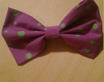 Purple and green dot bow