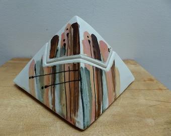 Mid Century Artisan Geometric Ceramic Lidded Box and CandleHolder