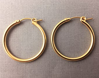Gold Hoop Earrings, 14K Gold Filled Earrings, RoseGold Filled, 1 Pair 2mm Thick, 3 Sizes 15mm, 18mm, 22mm Choose Finish & Size Hoop Earrings