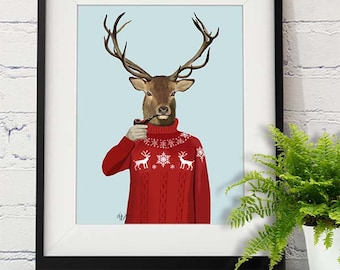 Deer art print Deer Canvas art print - Deer in Ski Sweater - Deer Print Stag Illustration home decor Deer and Pipe Deer décor large canvas