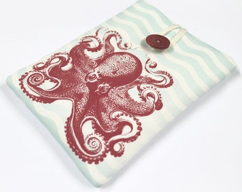 Padded ereader case, Kindle HDX 7 cover, Nexus 7 sleeve, 7 in tablet sleeve, padded travel case, red aqua octopus, gadget cozy, kraken cover