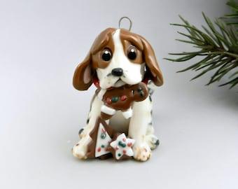 Beagle Tri Color Mottled Christmas Ornament Figurine Cookies Porcelain