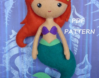 PDF sewing pattern to make a felt doll inspired in the little Mermaid