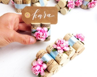 Vineyard wedding decor paper flowers by karasvineyardwedding shabby chic wedding decor place card holder winery wedding name card holder junglespirit