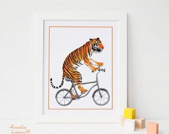 Affiche tigre à bicyclette, tigre à vélo, affiche pour enfant, 5 x 7, 8 x 10 et 11 x 14