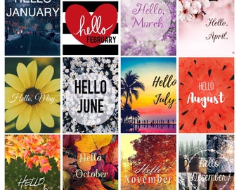 Hello Months Planner Square Stickers