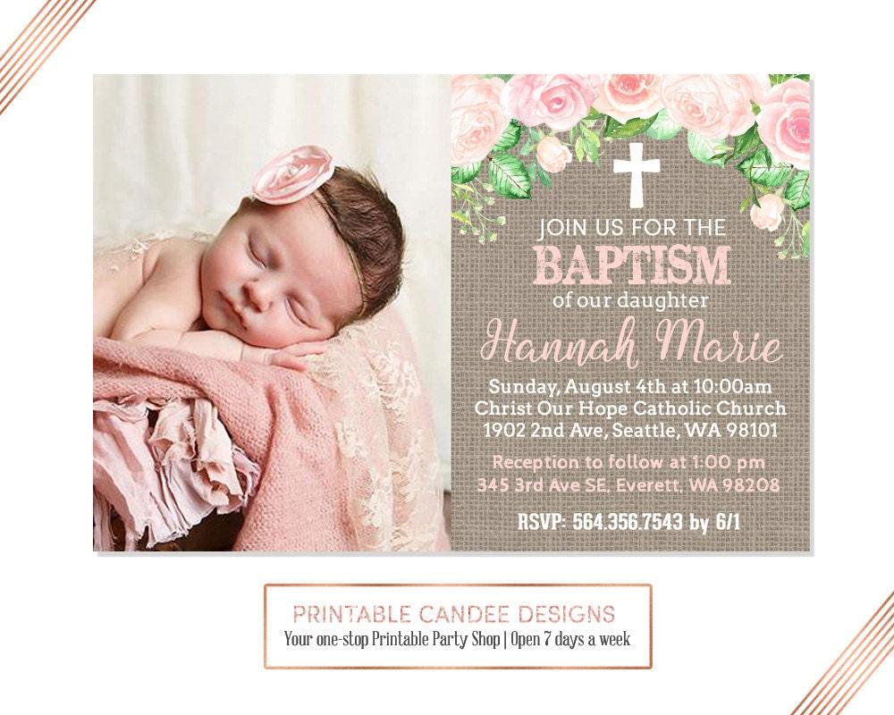 Burlap Floral Baptism Invitation Baby Girl Baptism