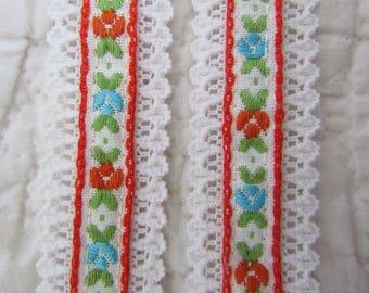 Lace and Ribbon Trim Polyester 4 yards x 1 1/8 inches