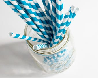 Blue Paper Straws, Striped Paper Straws, Party Supplies, Party Decor, Birthday Theme, Boy Baby Shower, Something Blue