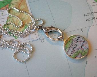 Silver Jewelry Clip, Map Pendant Clip, Necklace Clip, Charm Clip