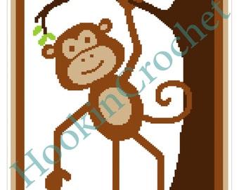 Monkey Cot/Crib SC Blanket Graph Pattern - 130 x 234