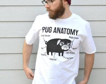 Pug, Pug Shirt, Pugs, T-shirts, Pug Anatomy, Graphic Tee, Pug Clothing, Pug Tshirt, Pug Tee, Pug Print, Pug Gift, Dog Print Tshirt Pug Gifts