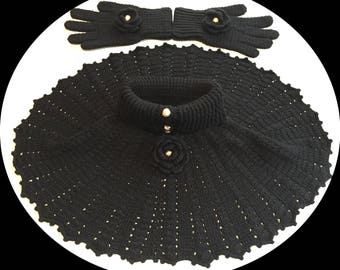 Black Crocheted Poncho & Glove Sets
