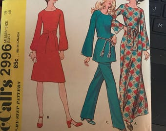 Vintage 70's McCall's 2996 Dress Pattern-Size 16 (38-29-40)