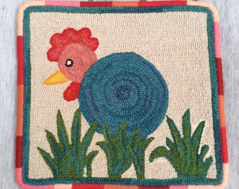 "Handmade Hooked Rug - ""Funky Chicken"""