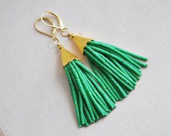 Green Tassel Earrings, Tassel Earrings, Beaded Tassel Earrings, Festival Earrings, Bohemian Earrings, Boho Earrings, Long Earrings,